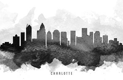 Charlotte Painting - Charlotte Cityscape 11 by Aged Pixel