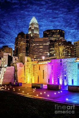 Charlotte Cityscape And Bearden Park Waterfall Wall At Night Art Print by Paul Velgos