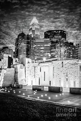 Charlotte Cityscape At Night Black And White Photo Art Print