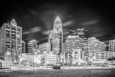 Charlotte Cityscape Black And White Photo Art Print