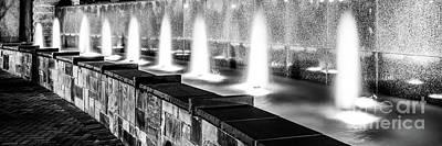Charlotte Fountain Black And White Panorama Photo Art Print by Paul Velgos