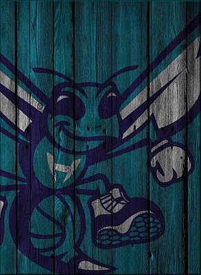 Charlotte Hornets Wood Fence Art Print by Joe Hamilton