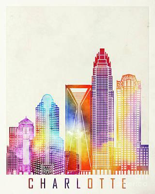 Charlotte Landmarks Watercolor Poster Art Print