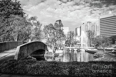Charlotte Skyline Photograph - Charlotte Marshall Park Black And White Photo by Paul Velgos