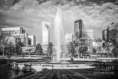 Charlotte Marshall Park Fountain Black And White Photo Art Print