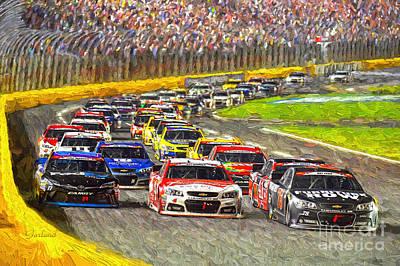 Charlotte Nascar Racing.  Art Print by Garland Johnson