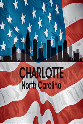 Digital Art - Charlotte Nc American Flag Vertical by Angelina Vick