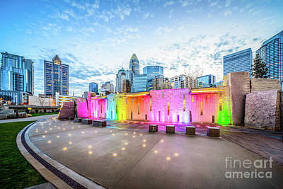 Charlotte Skyline Photograph - Charlotte Nc Skyline And Bearden Park At Dusk by Paul Velgos