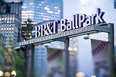 Photograph -  Charlotte Nc Usa  Bbt Baseball Park Sign  by Alex Grichenko