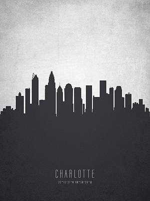 Towns Digital Art - Charlotte North Carolina Cityscape 19 by Aged Pixel