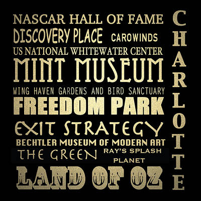 Charlotte North Carolina Famous Landmarks Art Print