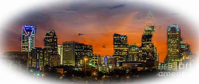 Digital Art - Charlotte, North Carolina Skyline As Dusk Is Falling by Rod Jellison