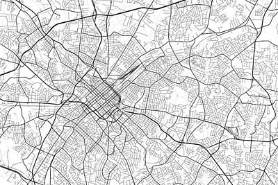 Charlotte Digital Art - Charlotte North Carolina Usa Light Map by Jurq Studio