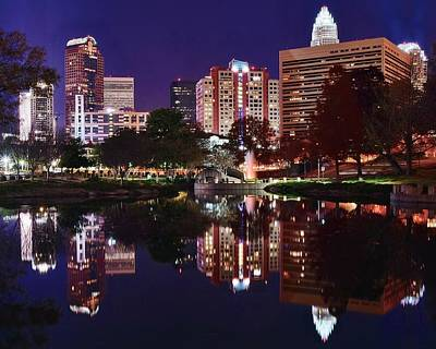 Charlotte Skyline Photograph - Charlotte Reflections by Frozen in Time Fine Art Photography