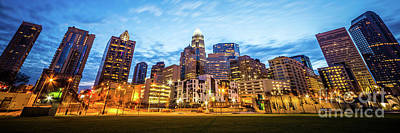 Mecklenburg County Photograph - Charlotte Skyline At Dusk Panorama Photo by Paul Velgos