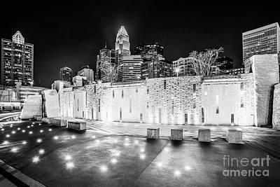 Charlotte Skyline At Night Black And White Photo Art Print