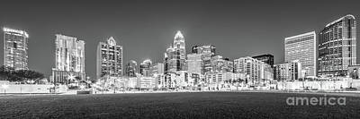 Charlotte Skyline Photograph - Charlotte Skyline At Night Panorama In Black And White by Paul Velgos