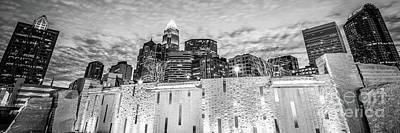 Charlotte Skyline Bearden Park Black And White Panorama Art Print by Paul Velgos