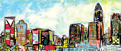 Queen City Skyline Painting - Charlotte Skyline Dreams by Ladianne Henderson