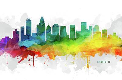 Charlotte Digital Art - Charlotte Skyline Mmr-usncch05 by Aged Pixel