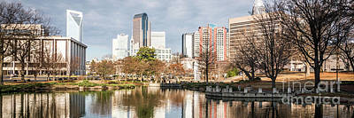 Mecklenburg County Photograph - Charlotte Skyline Panorama At Marshall Park Pond by Paul Velgos