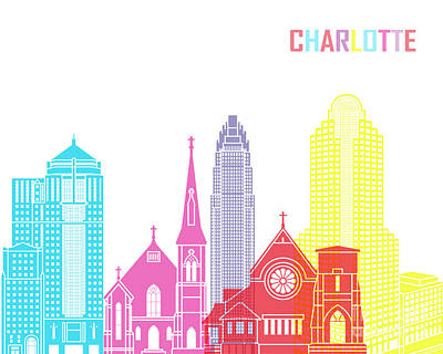 Charlotte Skyline Pop Art Print