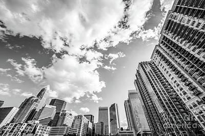 Charlotte Skyline Wide Angle Black And White Photo Art Print