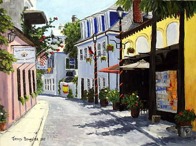 St. Augustine Florida Painting - Charlotte Street, St Augustine Florida by Jerry SPANGLER