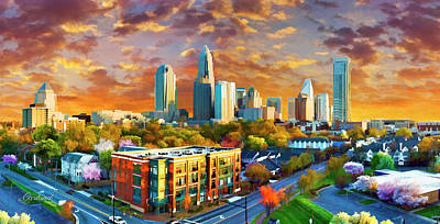City Sunset Mixed Media - Charlotte Sunset by Garland Johnson