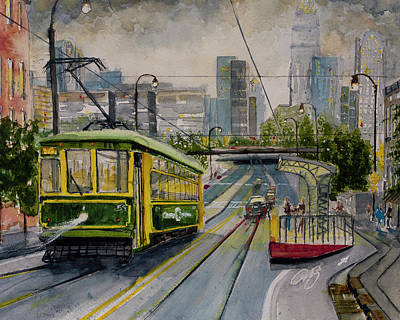 Painting - Charlotte Urban Cityscape And Streetcar  by Gray Artus