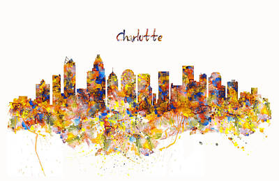 Mixed Media - Charlotte Watercolor Skyline by Marian Voicu