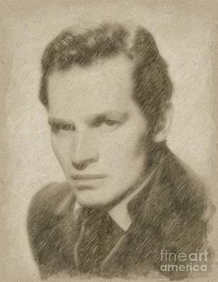 Fantasy Drawings - Charlton Heston Hollywood Actor by Frank Falcon