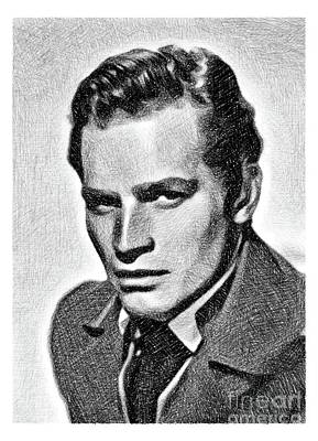 Musicians Drawings - Charlton Heston, Vintage Actor by JS by Esoterica Art Agency