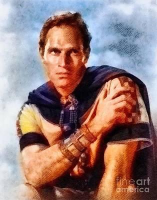 Ben Hur Painting - Charlton Heston, Vintage Hollywood Legend by John Springfield
