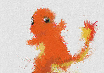 Pokemon Painting - Charmander by Miranda Sether