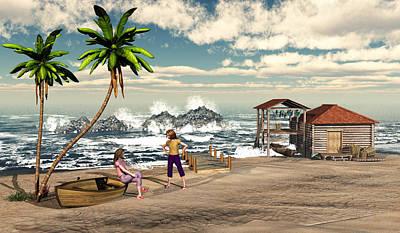 Charming Beach Scene Original by John Junek