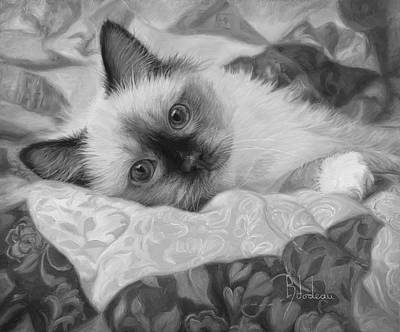 Black And White Cat Painting - Charming - Black And White by Lucie Bilodeau