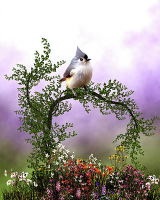 Tufted Titmouse Digital Art - Charming Tufted Titmouse by John Junek