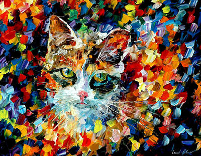 Charming Cat Art Print by Leonid Afremov
