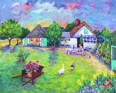 Painting - Charming French Country Cottage By Peggy Johnson by Peggy Johnson