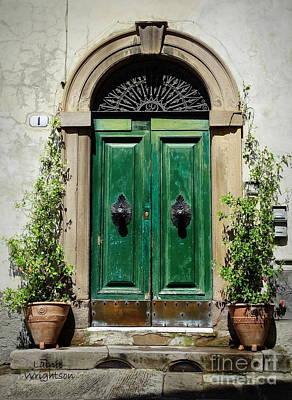 Charming Green Door In Lucca Art Print