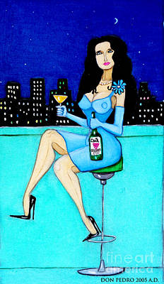 Charming Lady At Night Art Print by Don Pedro De Gracia