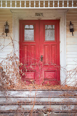 Print featuring the photograph Charming Old Red Doors Portrait by Gary Heller