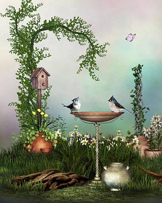 Charming Garden Scene Original by John Junek