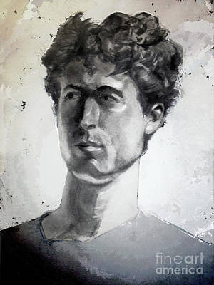 Painting - Charcoal Portrait Of A Curly Haired Man In The Shade by Greta Corens