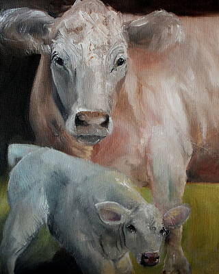 Painting - Charolais Cow Calf Painting by Michele Carter