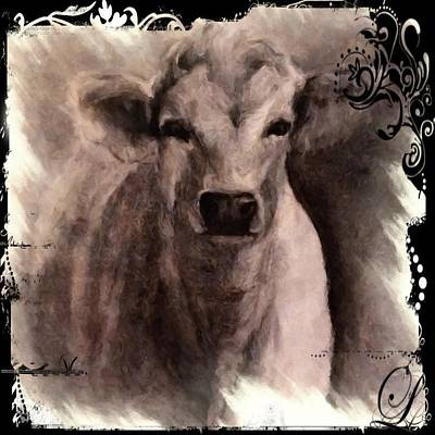 Digital Art - Charolais Cow Graphite Drawing by Michele Carter