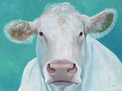 Painting - Charolais Cow On Green Background by Jan Matson
