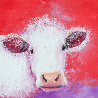 Painting - Charolais Cow Painting by Jan Matson