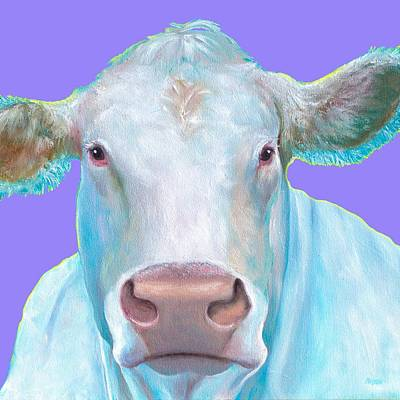 Country Kitchen Decor Painting - Charolais Cow Painting On Purple Background by Jan Matson